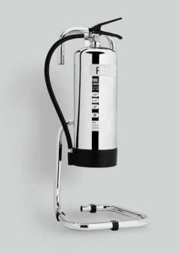 Midland Fire - First Class Range - Single Fire Extinguisher Stand housing a 9 Litre Afff (Foam Spray) with a mirrored chrome